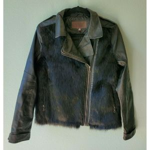 YMI Size L Black Moto Faux Leather Faux Fur Jacket